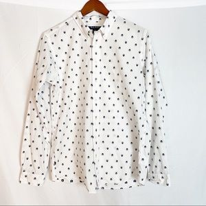 Brooks Brothers boys white button down ladybugs